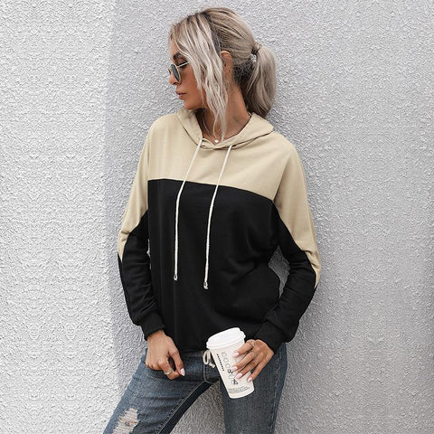 Women's Colorblock Drawstring Hoodie - INS | Online Fashion Free Shipping Clothing, Dresses, Tops, Shoes