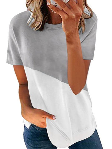 Women's Contrast Color Crewneck T-shirt - INS | Online Fashion Free Shipping Clothing, Dresses, Tops, Shoes