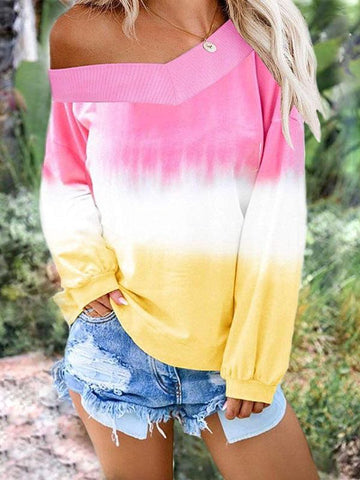 Women's Gradient V-neck T-shirt - INS | Online Fashion Free Shipping Clothing, Dresses, Tops, Shoes