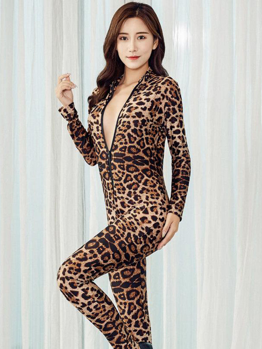 Women's Leopard Print Zipper Jumpsuits - INS | Online Fashion Free Shipping Clothing, Dresses, Tops, Shoes