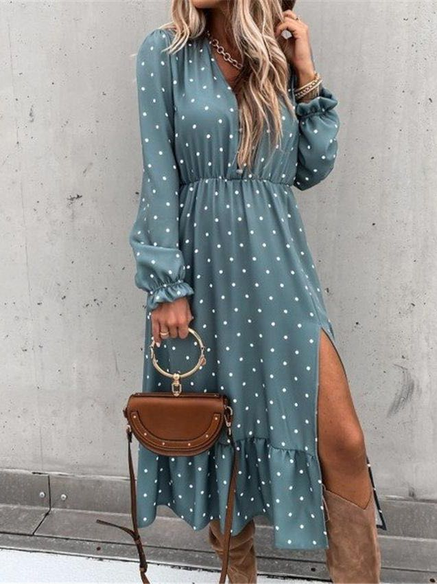 Women's Poly Dot Chiffon Elegant Dress - INS | Online Fashion Free Shipping Clothing, Dresses, Tops, Shoes