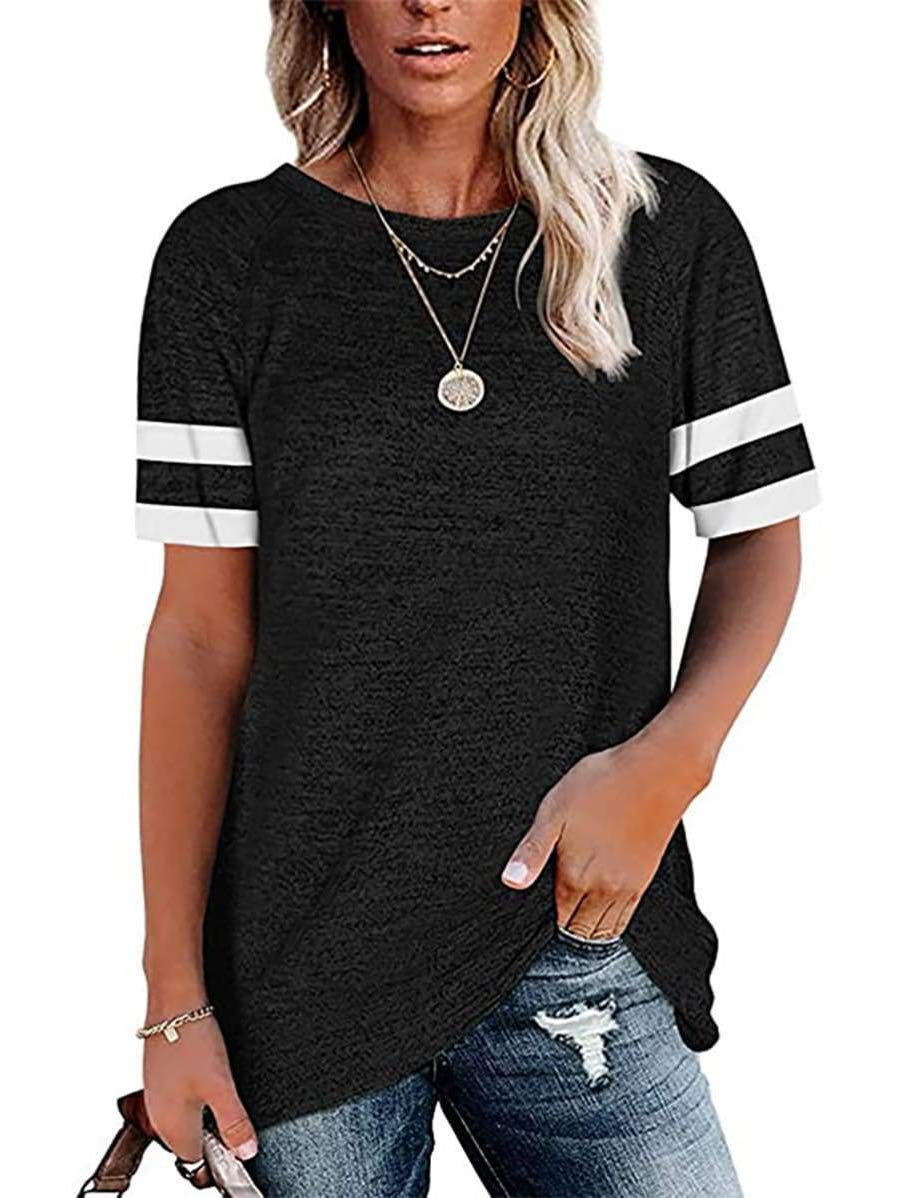 Women's Pure Color Stripe Crewneck T-Shirt - INS | Online Fashion Free Shipping Clothing, Dresses, Tops, Shoes