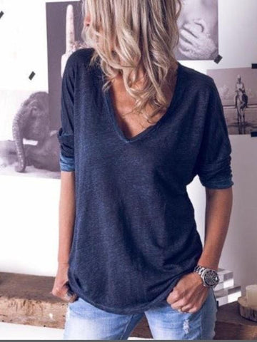 Women's Pure Color V-neck Long Sleeved T-shirt - INS | Online Fashion Free Shipping Clothing, Dresses, Tops, Shoes