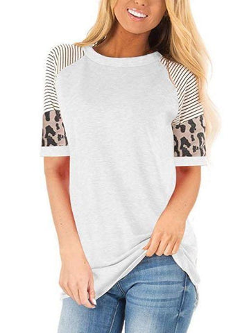 Women's Summer Crewneck T-Shirt With Strip Sleeves - INS | Online Fashion Free Shipping Clothing, Dresses, Tops, Shoes