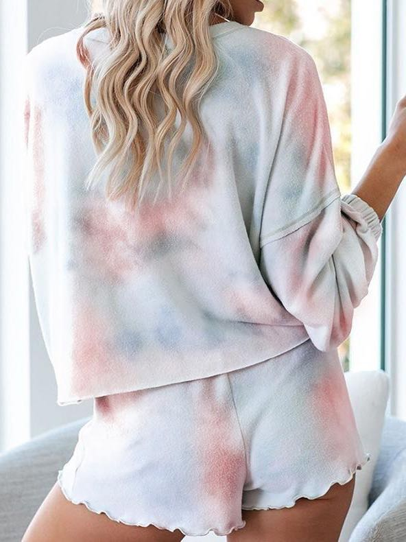 Women's Tie-dye Printed Long Sleeved Home Suit - INS | Online Fashion Free Shipping Clothing, Dresses, Tops, Shoes