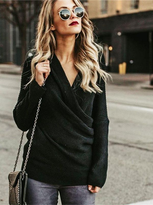 Women's V Neck Off Shoulder Sweater - INS | Online Fashion Free Shipping Clothing, Dresses, Tops, Shoes