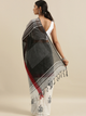 Grey & White Linen Blend Embroidered Saree