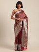 Brown & Silver-Toned Silk Blend Embellished Banarasi Saree