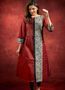 Handloom Cotton Kurta with Madhubani  and Ikkat Combination