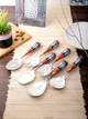 Set of 6 Multicoloured Hand-Painted Stainless Steel Serving Spoon