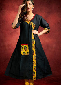 Black Cotton Silk Kurti with Ajrakh Combination