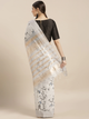 White Linen Blend Printed Chanderi Sare