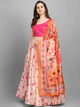 Pink & Peach-Coloured Solid Unstitched Lehenga & Blouse with Dupatta