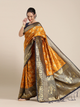 Mustard Yellow & Navy Blue Silk Blend Woven Design Banarasi Saree