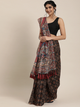 Black & Brown Linen Blend Printed Bandhani Celebrity Saree