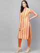 Cream-Coloured & Coral Orange Equal Striped Straight Kurta