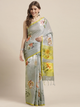 Grey & Yellow Linen Blend Flower Angolla Digital Printed Saree