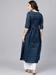 Navy Blue Floral Cotton A-Line Kurta With Gathered Waist & Palazzos