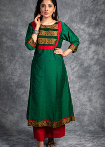 Cotton silk Kurta with Sambhalpuri woven Yoke