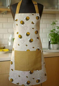 Linen Apron with Bees print,