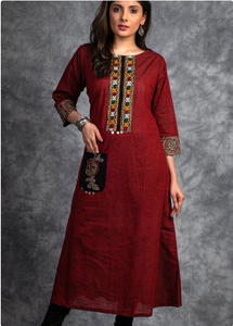 Handloom Kurta with Handmade Kutch mirror Embroidery work