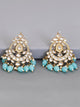 Turquoise Agrani Designer Kundan Earrings