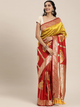 Red & Gold-Toned Silk Blend Woven Design Banarasi Saree