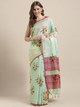 Sea Green Printed Linen Blend Saree