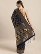 Navy Blue & Gold-Coloured Art Silk Woven Design Banarasi Saree