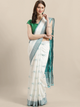 White & Green Woven Design Bhagalpuri Ikat Handloom Saree