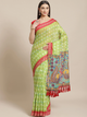 Green & Blue Printed Ikat Saree