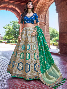 Grey Banarasi Silk Woven Lehenga Choli with Sequinsed Work