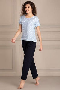 Polka Me Top & Pyjama Set in Blue- Cotton Rich
