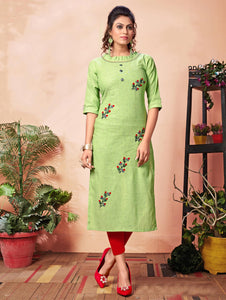 Green Cotton Straight Cut Embroidered Kurti
