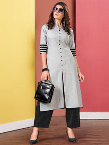 Grey Cotton Slit Cut Kurti with Buttons and Lining Palazzo