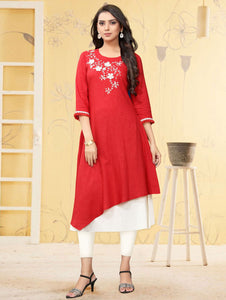 Pink Crepe Straight Cut Embroidered Kurti