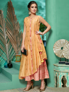 Peach and Pink Chanderi Layered Kurti with Embroidery