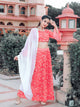 Red Embellished Blouse with Lehenga and Dupatta