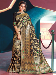 Black Art Silk All Over Floral Woven Saree with Golden Touch