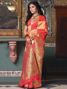 Red and Golden Art Silk Woven Saree with Peacock Motifs