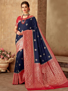 Navy Blue Art Silk Saree with Contrast Woven Border and Pallu