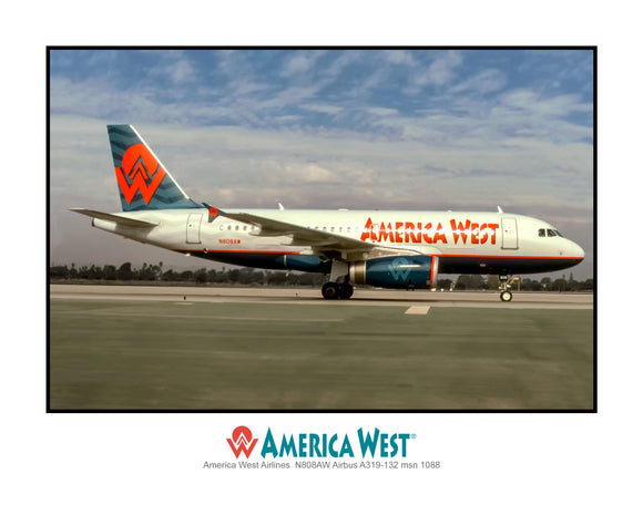 America West Airlines Airbus A319-132 (AB078RGJF11X14)