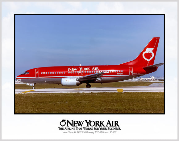 New York Air Airlines Boeing 737-3T0 (K016LGUS11X14)