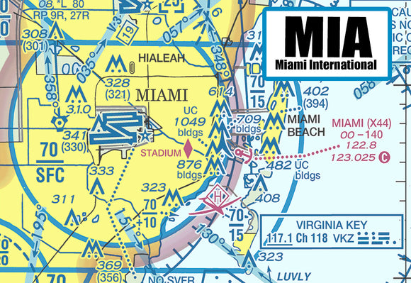 MIA Miami Airport Sectional Map (MM10503)