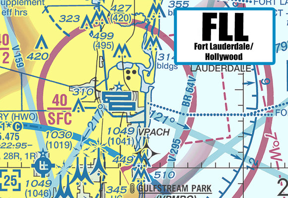 FLL Fort Lauderdale Airport Sectional Map (MM10504)