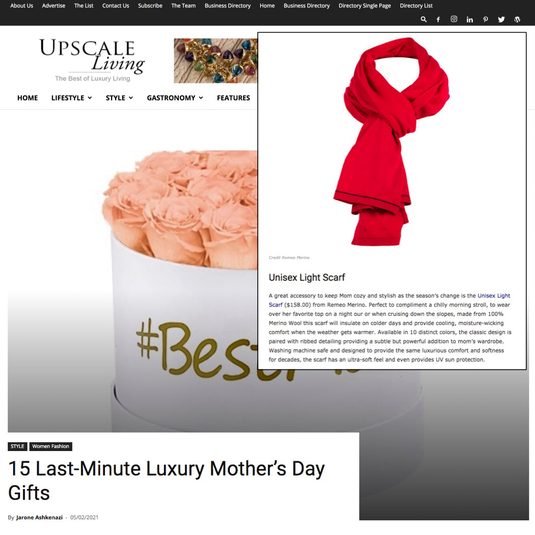 Upscale Magazine Mother's Day Gift Guide: Romeo Merino Wool Scarf