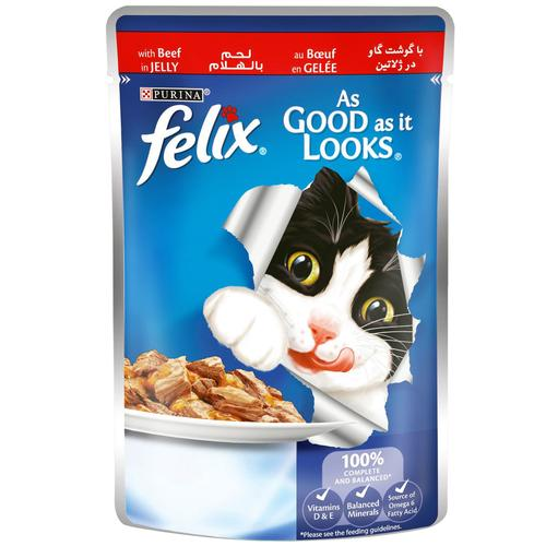 PURINA FELIX As Good as it Looks Beef in Jelly Wet Cat Food Pouch