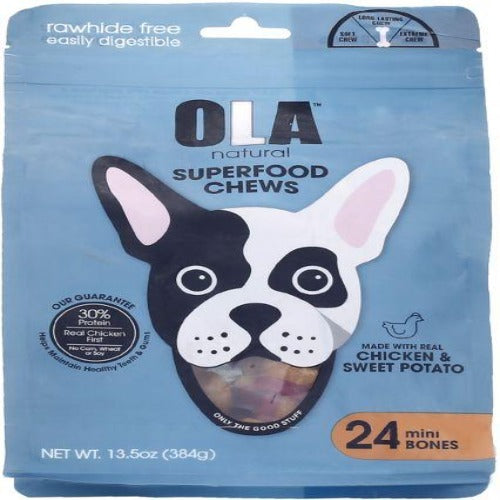 Ola Natural Treats For Dogs & Puppies 24 Mini Knotted Bones Chicken Flavour