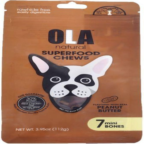 Ola Natural Treats For Dogs & Puppies 7 Mini Knotted Bones Peanut Butter