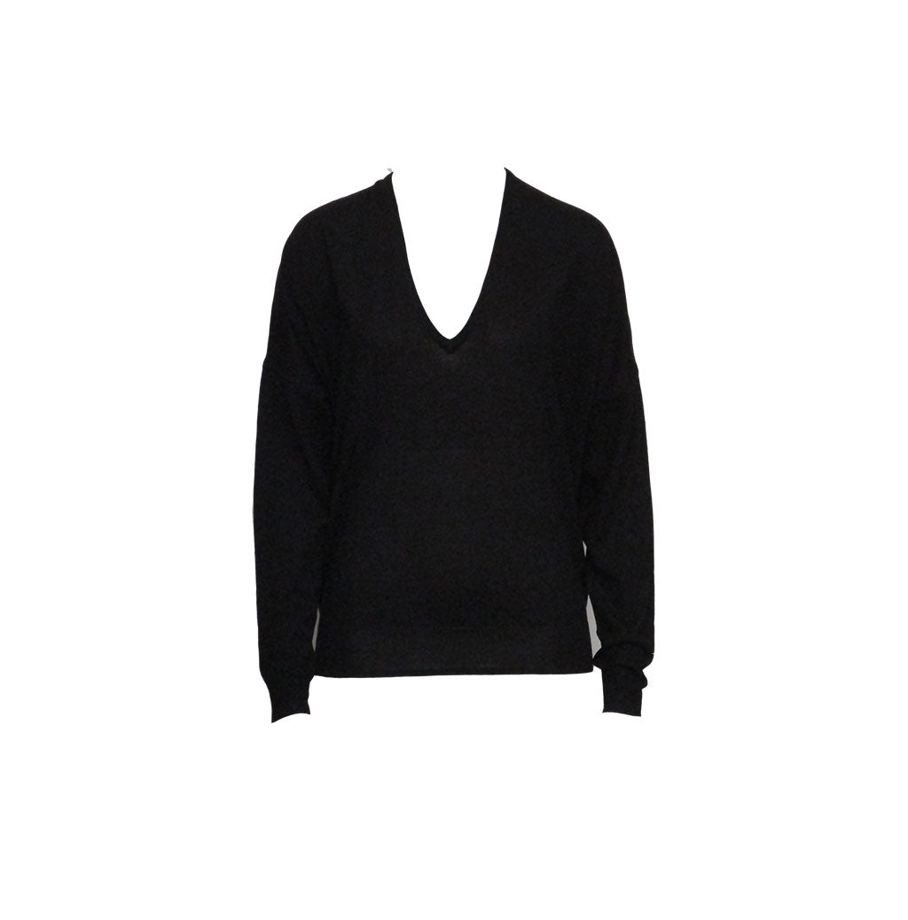 V-NECK KNIT, BLACK - JEAN PAUL KNOTT